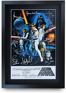 HWC Trading A3 FR Star Wars Movie Poster Cast Signed Gift FRAMED A3 Printed New
