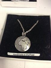 """Earth Globe WE-SPEAKR Emblem on Silver Platinum Plated Necklace 18"""""""