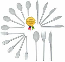 More details for white plastic cutlery 100 each knives forks spoons choose quantity