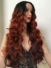 Auburn Wig Ombre Brown Ginger Dark Roots 24 Inch Long Wavy Layered Red Heat Ok