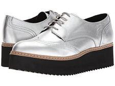 a825699c645 Shellys London 37 Metallic Silver Oxfords Platform Shoes Lace-up Leather