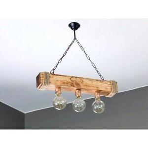 LENA-Rustic Chandelier Distressed Wood  Ceiling Pendant Light Unique Design