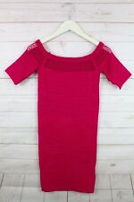 New Bebe Women's Seamless Ribbed Cocktail Short Bodycon Dress Pink/Red S