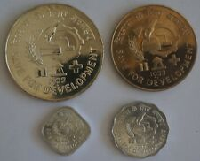 INDIA 5 10 Paise & 10 50 Rupees 1977 FAO 4 Coins Set With Silver Crown