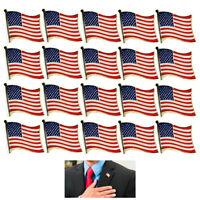 20 AMERICAN FLAG LAPEL PIN MADE IN USA Hat Tie Tack Badge Pinback Vest Patriotic