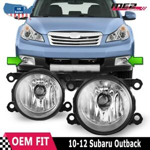 Fits 10-12 Subaru Outback PAIR Factory Bumper Replacement Fog Lights Clear Lens