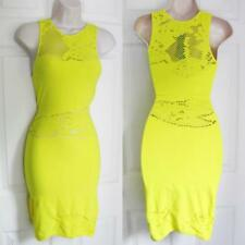 BEBE YELLOW SLASH FLORAL BODYCON NEW DRESS SMALL S XSMALL XS P/S