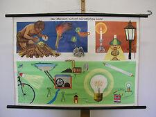 Belles anciennes écoles carte lumière artificielle électricien 90x64cm vintage map ~ 1960