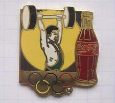 COCA-COLA / OLYMPISCHE RINGE / BOTTLE /  GEWICHTHEBEN   ... Sport Pin (127b)