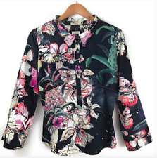 Just Cavalli Women's Sz 10 US Italy 46 Blouse Black Floral Print Button Front