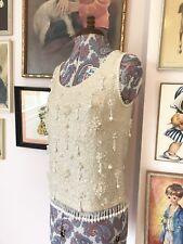 Sensational Heavily Embellished Vintage 50s 60s Wool Lined Evening Top