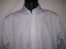 Hilditch & Key Lavender Striped Cotton French Cuff Long Sleeve Dress Shirt 15 38