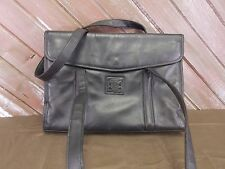 Geoffrey Beene Leather Bag Laptop Briefcase Saddle Bag Black