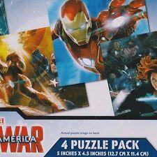 4 Mini Jigsaw Puzzle Brand New Civil War Captain America 12 piece 5x4.5 inch