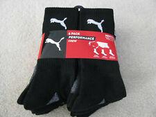 Puma Men'sPerformance Crew Socks 6 pair black grey NEW NWT