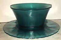 BEAUTIFUL Blue Art Glass Finger Bowl & Plate