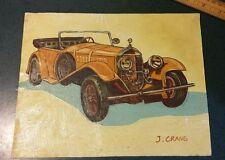 """Vintage Antique Automobile Painting on Canvas-Signed J. Crane -8 x 10"""""""