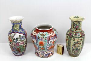 3x Asia China Japan ? Porzellan Vase Emaillemalerei Vögel Blumen a Boden Schrift