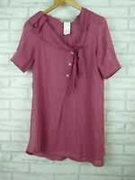 SportsMax by Max Mara mulberry / pink bow neck top blouse size UK 8 Shortsleeve