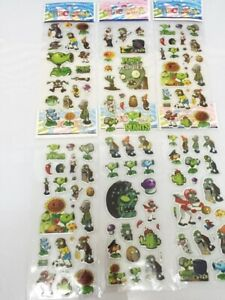 Plants Vs Zombies puffy Stickers Birthday gift bag kids craft 3 Sheets Set