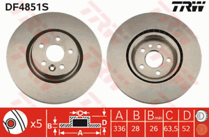 TRW Brake Rotor Front DF4851S fits Volvo S80 2.4 D5 (AS), 2.4 D5 AWD (AS), 3....