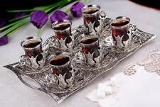 25 Pcs Turkish Tea Glasses Set with Holder Handle Saucers Spoons & Tray
