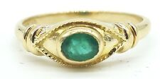 18k Solid Gold Natural Emerald Ring Eye Catching Green Gemstone Sizable Free Shp