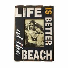 """Shabby chic wooden photo frame """"Life is better at the beach"""" gift"""