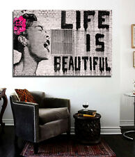 Banksy Life is Beautiful Street Art Canvas Print 36 x 24 print Urban Art