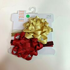 Just One You Carters Baby Girls 2 Pack Red Gold  Head Bands Bow NEW