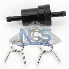 """CNC Aluminum Inline Reusable Washable Brass Element Fuel Filter 5/16"""" - Black"""