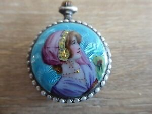 QUALITY ANTIQUE SILVER  FOB / POCKET WATCH WITH ENAMEL CASING WORKING LADY SCENE