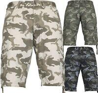 Von Denim Mens Army Combat Shorts Camouflage Cargo Casual Camo Work Half Pants