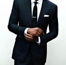 Hombre Negra Traje de Negocios Boda Esmoquin a Medida Novio Padrinos