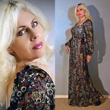 Vtg 70s Sheer Gauze Floral Cutout Pleated Lace Hippie Boho Romantic  Maxi Dress