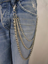 "New Rocker Silver Metal 18"" Three Strands Wallet Chain KeyChain Motorcycle Biker"