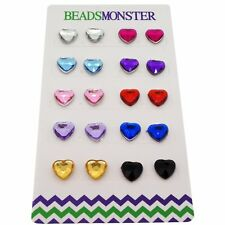 Color Heart Rhinestone Beads Magnetic Clip-On Stud Earrings Gift Set, 10 Pairs