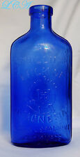 1906 dated DEEP COBALT BLUE color PHILLIP'S Milk of Magnesia MoM bottle CORK TOP
