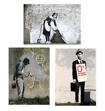Banksy set of three Canvas ACEO giclee Prints Street Art Graffiti