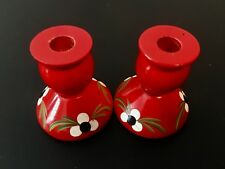 Vintage Swedish Red Wooden Candle Holders Tole Hand Painted 1950's Hard to Find!
