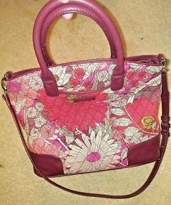 Vera Bradley Satchel Day Off in Bohemian Blooms Faux Leather Trim Floral Zip Top
