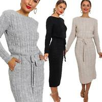 Ladies Womens Cable Knitted Long Sleeve Pockets Tie Up Party Midi Jumper Dress