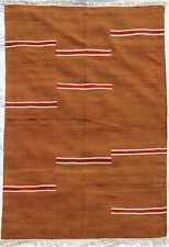 5'x8' Handwoven Striped Reversible Contemporary Wool Dhurrie Area Rug Home Decor