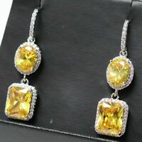 4 Ct Cushion Citrine Halo Drop/Dangle Earrings Women Jewelry 14K Gold Plated