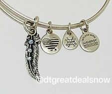 NEW Alex & Ani Feather II Expandable Wire Bracelet, Rafaelian Silver