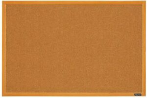 Quartet Corkboard Framed Bulletin Board 2' x 3' Cork Board Oak Wood MWDB2436-ECR