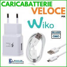 CARICABATTERIE VELOCE FAST CHARGER per WIKO SELFY 4G PRESA MURO + CAVO MICRO USB