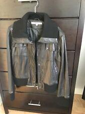 DKNY black Leather Cropped Bomber Jacket, L
