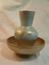 2 Pieces Mid Century Modern Stangl Vase & Centerpiece Bowl Turquoise Gold 22kt