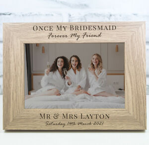 Personalised Bridesmaid Photo Frame Wooden Frame Wedding Anniversary Gift